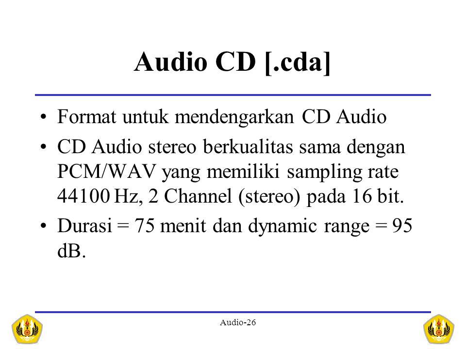 Audio CD [.cda] Format untuk mendengarkan CD Audio
